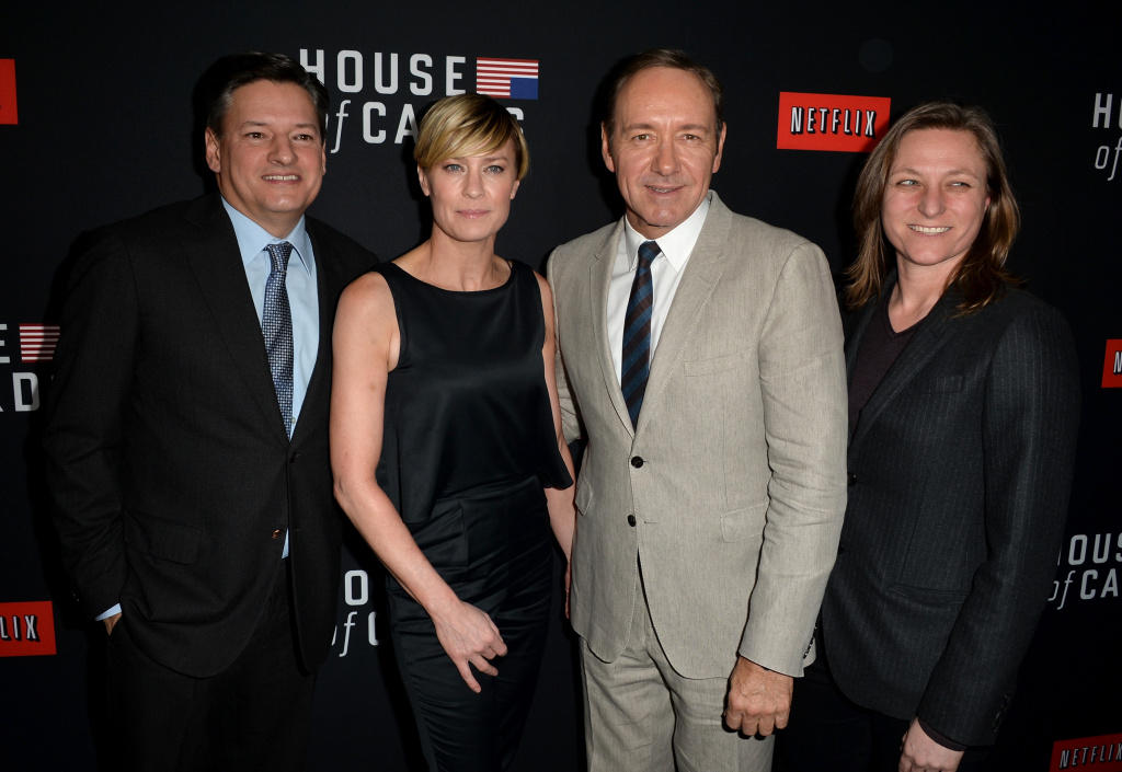 Netflix chief content officer Ted Sarandos, actress Robin Wright, executive producer/actor Kevin Spacey and Netflix Vice president for original series Cindy Holland arrive at the special screening of Netflix's