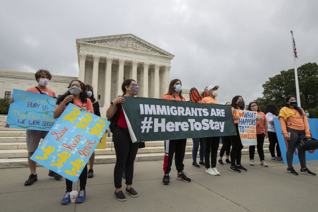 Deferred Action for Childhood Arrivals students celebrate on June 18 at the Supreme Court after the justices rejected President Trump's effort to end legal protections for young immigrants.