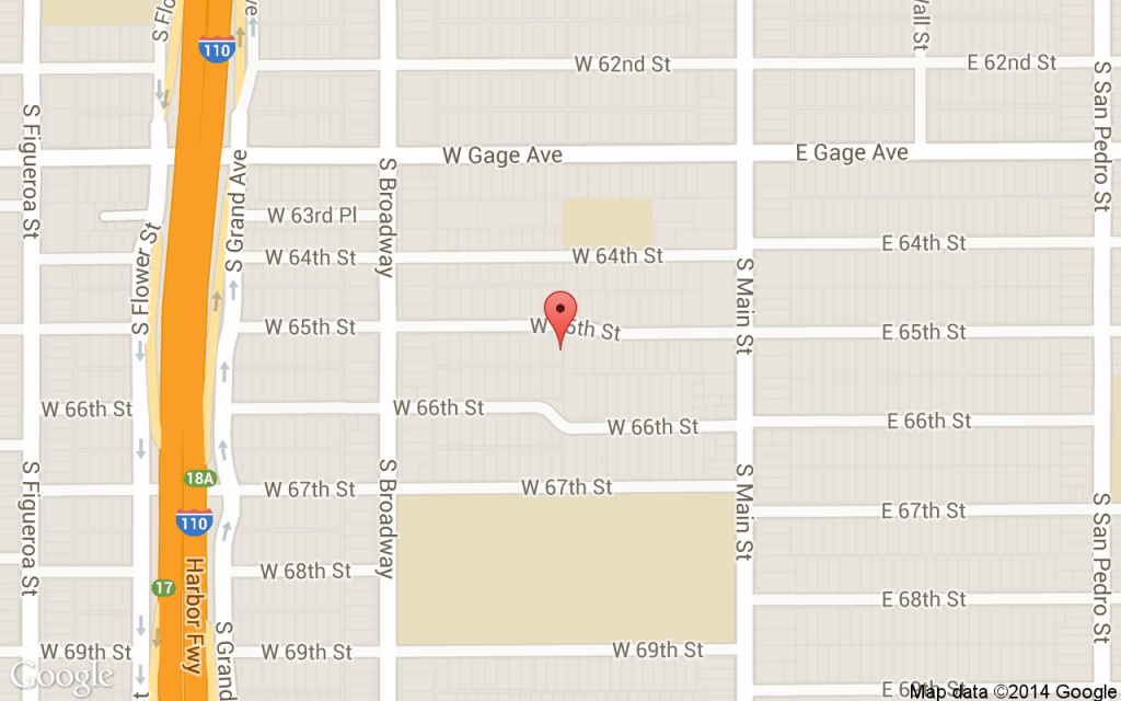 A map of the South Los Angeles location where the fatal police shooting occured.