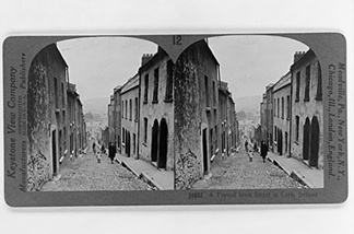An original Keystone stereo card of an Irish street scene. Note now the lines of the road and row houses receding toward the horizon on the left and right sides add to the stereo effect. UC Riverside holds the Keystone archive, but The Library of Congress also has thousands of stereo cards like these available for download.