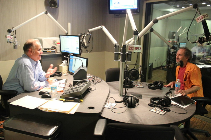 Larry Mantle and Harry Shearer converse on AirTalk on Aug. 21, 2012