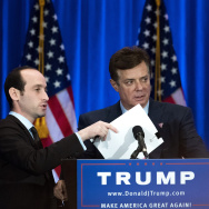 Campaign chairman Paul Manafort checks the podium before Republican Presidential candidate Donald Trump speaks during an event at Trump SoHo Hotel, June 22, 2016 in New York City.