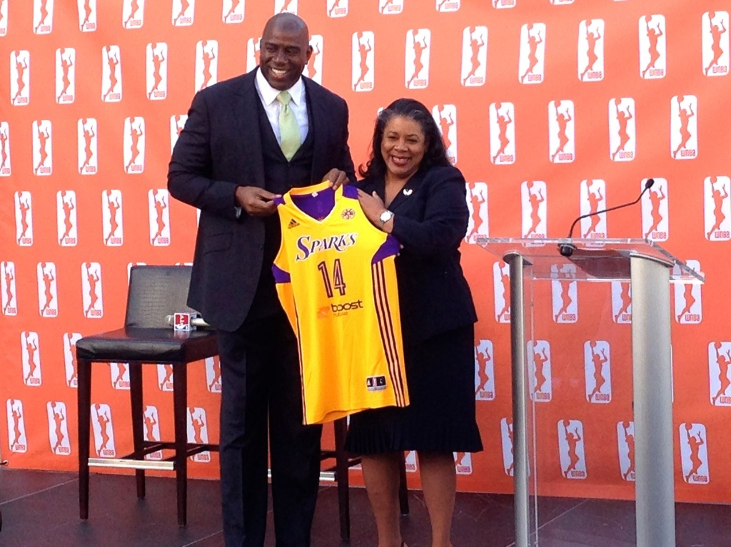 Magic Johnson and WNBA President Laurel J. Richie announced the sale of The Los Angeles Sparks for an undisclosed price.