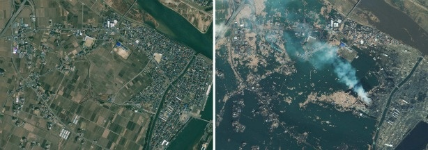 In this combination of photos provided by GeoEye, Natori, Japan is seen. The photo on the left was taken April 4, 2010. The photo on right was taken Saturday, March 12, 2011, one day after a 9.0-magnitude earthquake struck the Oshika Peninsula.