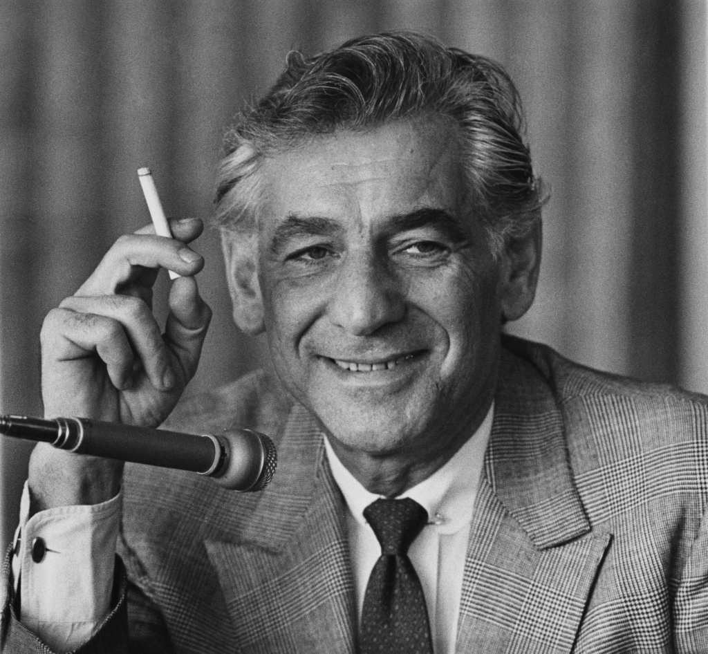 American composer Leonard Bernstein (1918 - 1990) holds a press conference at the Royal Festival Hall in London on February 20, 1970. The Skirball Center is celebrating his centennial with an all encompassing exhibit of Bernsteiniana.