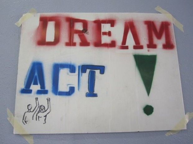 A poster on the wall of the UCLA Downtown Labor Center by McArthur Park, where about two dozen student activists are calling legislators and awaiting a vote on the bill, December 8, 2010