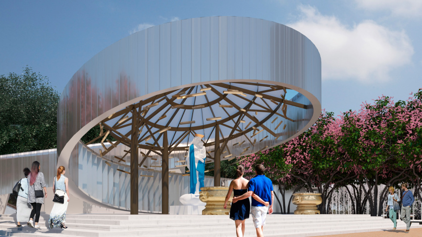 A rendering of the shrine to Our Lady of La Vang under construction at Christ Cathedral in Garden Grove.