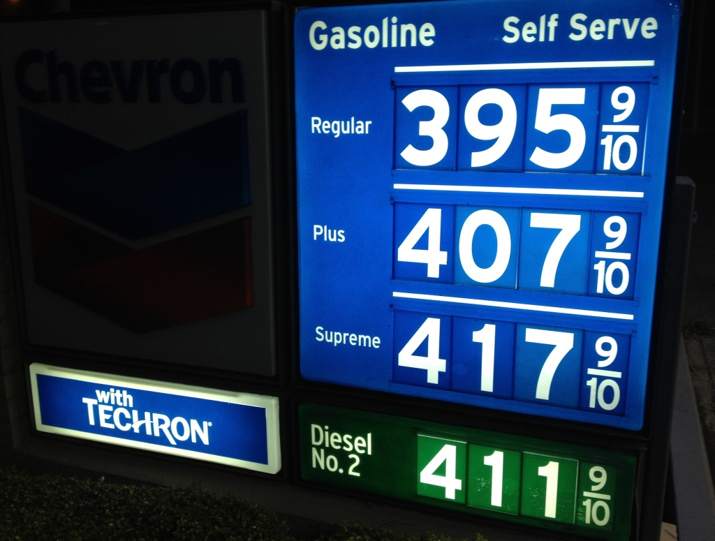 Gasoline prices continue to drop in Southern California. The Automobile Club of Southern California said Monday the average price is $3.90 for a gallon of self-serve regular in L.A. County and $3.87 in Orange County. (Photo: Newport Beach gas station prices April 29, 2013)
