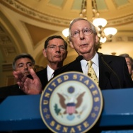 Senate Majority Leader Senator Mitch McConnell (R-KY) speaks after a weekly meeting with Senate Republicans on Capitol Hill July 18, 2017 in Washington, DC.
