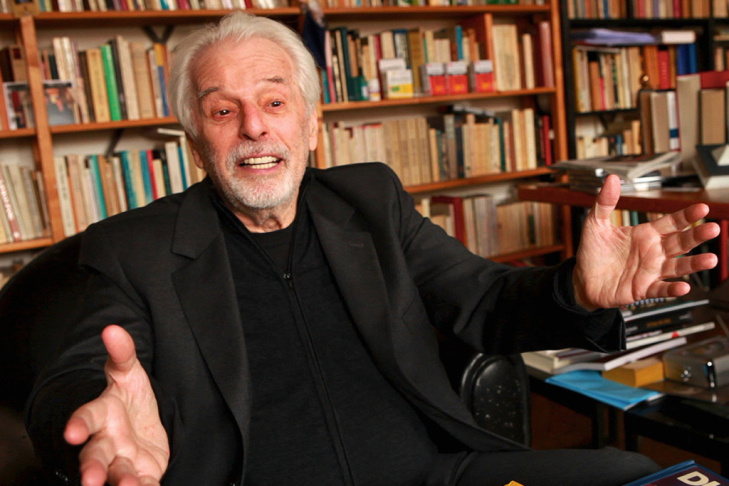 Filmmaker Alejandro Jodorowsky being interviewed for the documentary