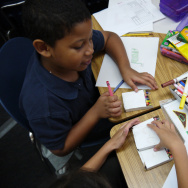 Students at Jefferson Elementary School in Pasadena work on an arts integration project that merges math and budgeting with art skills.