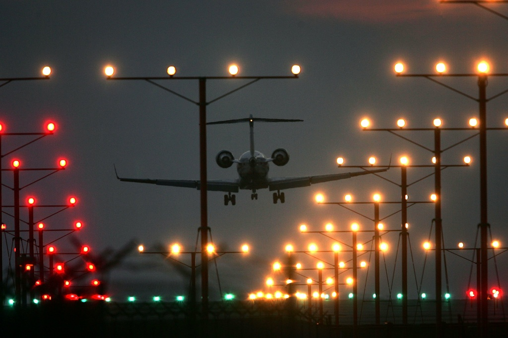 A jet lands at Los Angeles International Airport (LAX) on Thanksgiving eve, traditionally the busiest travel day of the year, November 22, 2006 in Los Angeles, California.