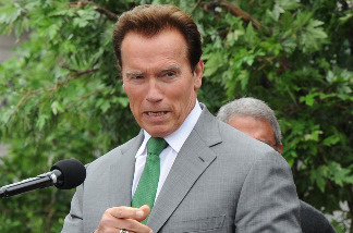 Governor Arnold Schwarzenegger speaks at a dedication ceremony for the Universal Studios newly rebuilt New York Street backlot locations, in Los Angeles on May 27, 2010.