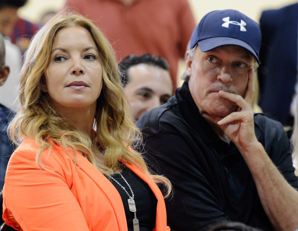 Jim Buss and his sister Jeanie Buss of the Los Angeles lakers attend a news conference where Dwight Howard was introduced as the newest member of the team at the Toyota Sports Center on August 10, 2012 in El Segundo, California.