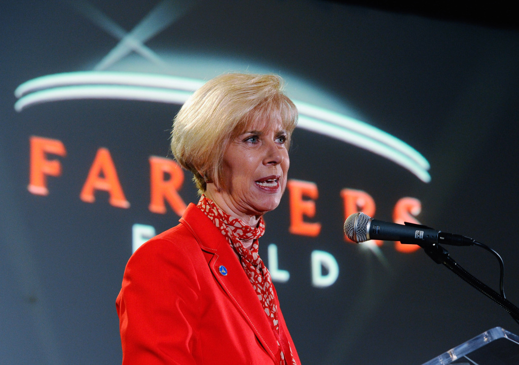 In this file photo, then-Los Angeles Councilwoman Janice Hahn speaks during news conference for the naming rights of the new downtown L.A. football stadium and event center named Farmers Field at Los Angeles Convention Center on February 1, 2011 in Los Angeles, California. Hahn announced February 18, 2015 that she plans to run for an open seat on the L.A. County Board of Supervisors after finishing her current term in Congress.