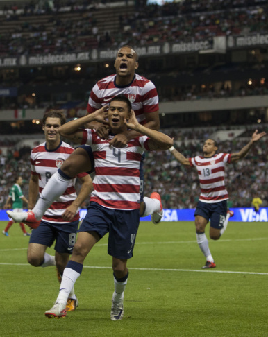 Michael Orozco of the United States celebrates after scoring during a FIFA friendly match between Mexico and US at Azteca Stadium on August 15, 2012 in Mexico City, Mexico.