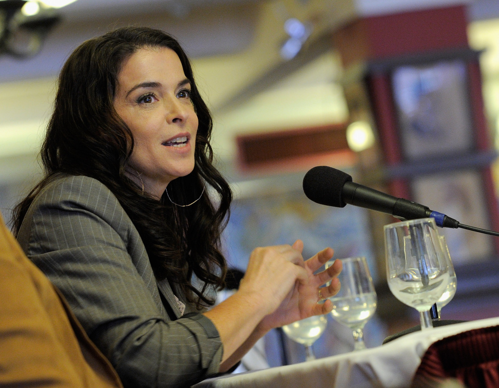 Actress Annabella Sciorra speaks at the Drama Desk Panel Discussion:
