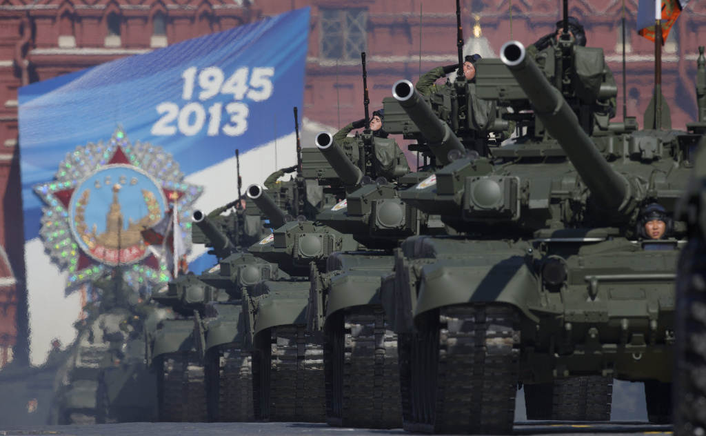 Russian tanks move along Red Square during a Victory Day parade in May. This week, Russia invited the U.S. to participate in a tank biathlon.