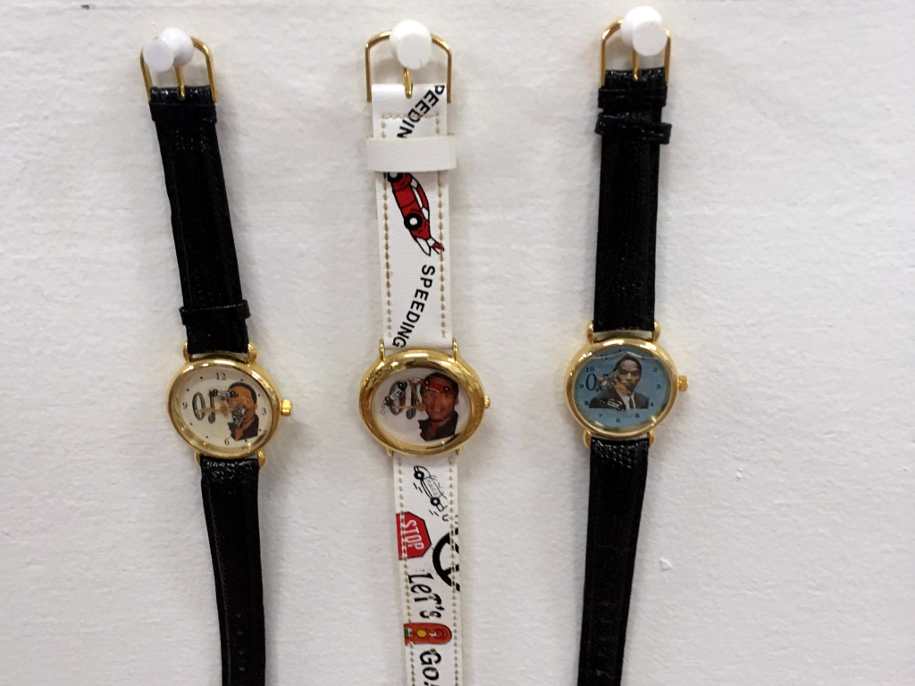 Watches at an exhibition of O.J. Simpson memorabilia at Coagula Curatorial in L.A.'s Chinatown.