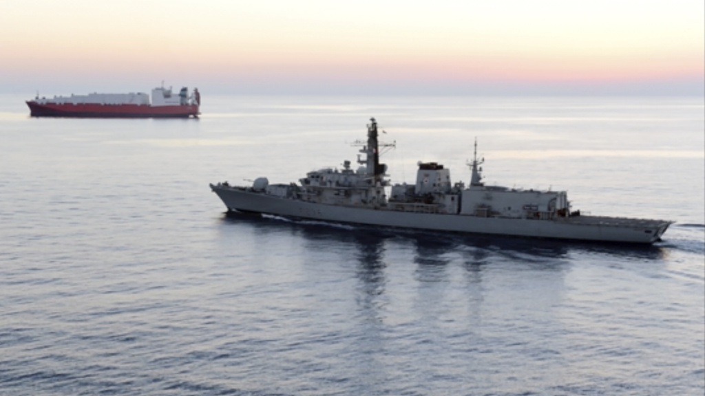 The British naval vessel HMS Montrose, pictured in 2014, was forced to intercede on behalf of a British tanker blocked by Iranian ships in the Strait of Hormuz on Wednesday, according to the U.K. Ministry of Defense.