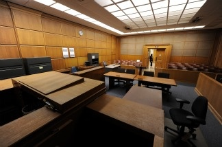 An courtroom sits empty in Los Angeles.