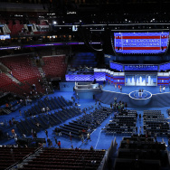 Workers prepare for the Democratic National Convention in Philadelphia, Sunday, July 24, 2016.
