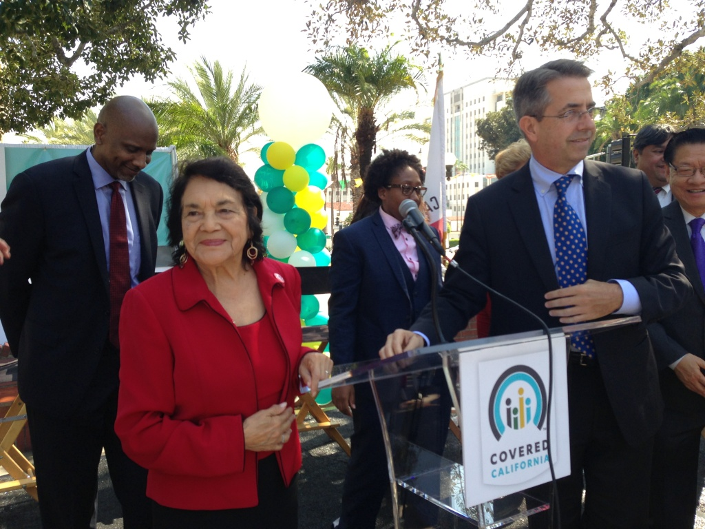 United Farm Workers co-founder Dolores Huerta joined Covered California director Peter Lee (right) to encourage Latinos to sign up for health insurance.