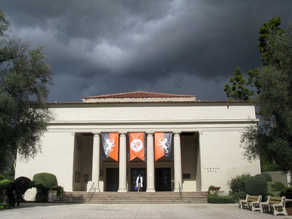 In Eagle Rock, California, Occidental College's Thorne Hall.