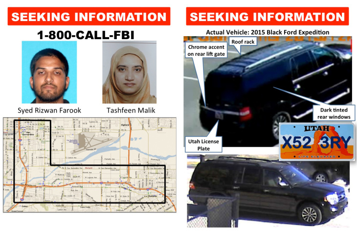 Displays shared by the FBI at a press conference on the San Bernardino shootings on Tuesday, Jan. 5, 2016.