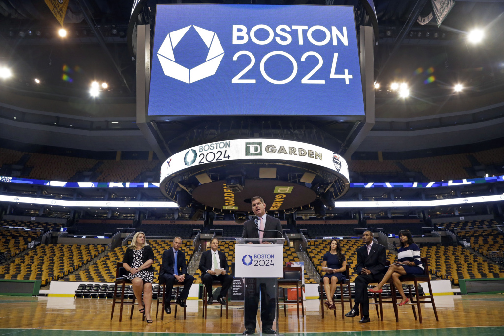 Boston Mayor Marty Walsh speaks at a news conference, Thursday, June 18, 2015, in Boston, where it was announced that TD Garden would be the site of the Olympic and Paralympic basketball finals and Olympic gymnastics and trampoline if the city wins a bid to host the 2024 games. On Monday, July 27, 2015, Boston's bid officially ended. The decision throws the bid process — and hopes that the U.S. will host another Olympics — into flux. If the USOC wants to stay in the race, Los Angeles is its likely choice.