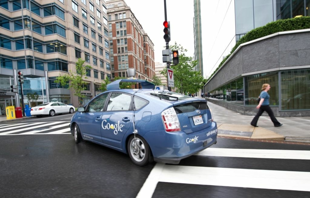 The Google self-driving car maneuvers through the streets of in Washington, D.C. May 14, 2012.