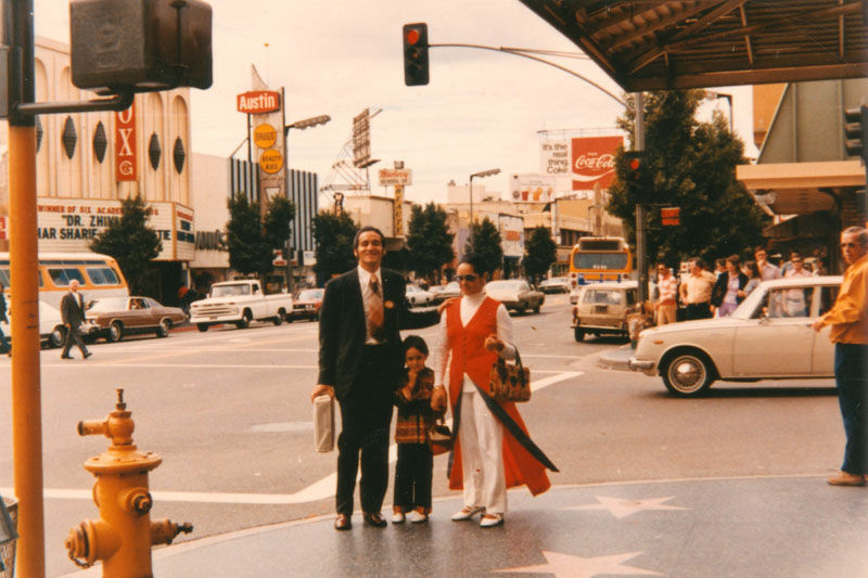 A family stands on Hollywood Boulevard in 1969.