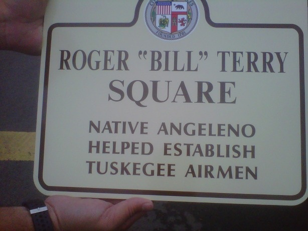 "The placard for the Roger ""Bill"" Terry Square dedication, Oct. 21, 2010."