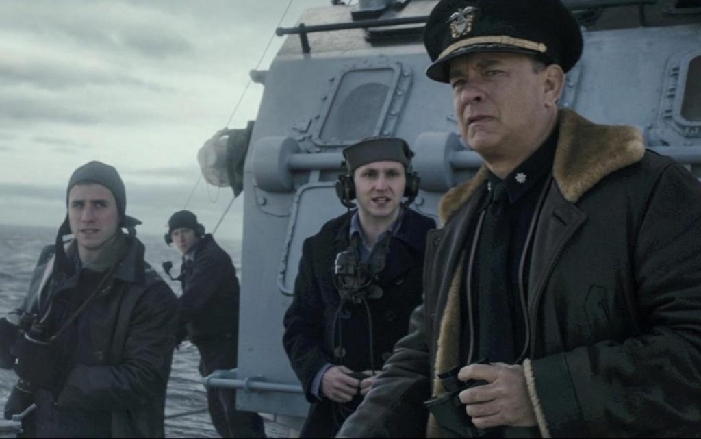 Michael Carollo (L) and Tom Hanks (R) in Greyhound.