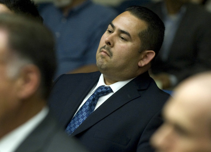 Footage from a security camera that shows much of the altercation between Fullerton police officers and Kelly Thomas at the Fullerton bus depot played during a preliminary hearing for the death of Thomas, on May 7, 2012 in Santa Ana.