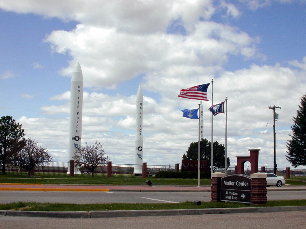 Three types of missiles flank the main gate of F.E. Warren Air Force Base, Wyo., Friday, May 13, 2005. The U.S. will keep its current force of 450 land-based nuclear missiles but remove 50 from their launch silos as part of a plan to bring the U.S. into compliance with a 2011 U.S.-Russia arms control treaty, the Pentagon said Tuesday, April 8, 2014.
