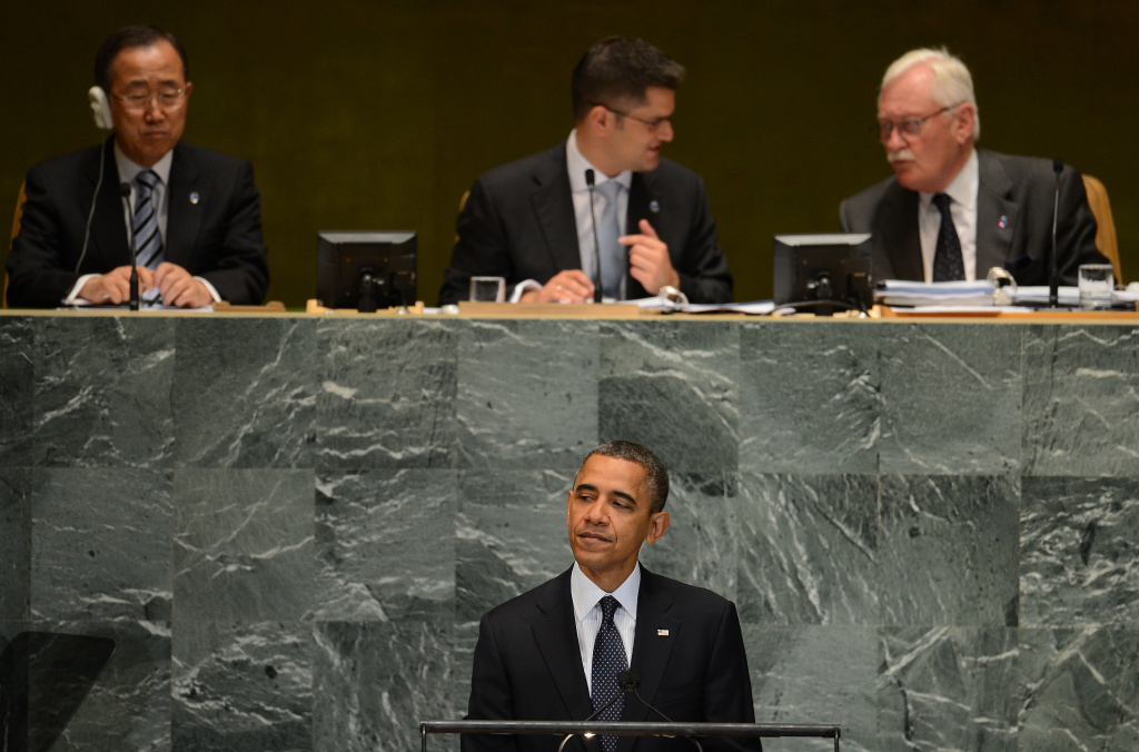 US President Barack Obama addresses the 67th UN General Assembly at the United Nations headquarters in New York, September 25, 2012.
