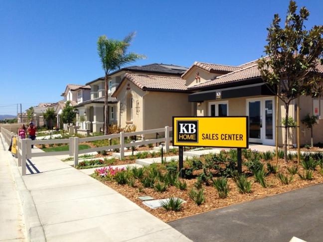 One of the homes KB Home is building on the eastern edge of Temecula. New home construction has risen by 40 percent since last year in the Inland Empire.