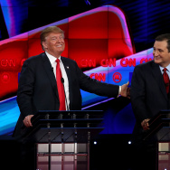 Republican presidential candidates Donald Trump (L) and Sen. Ted Cruz (R-TX), interact during the CNN republican presidential debate.