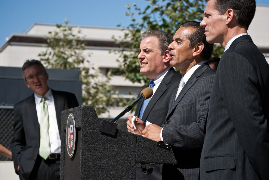 Attorney Scott Witlin, Mayor Antonio Villaraigosa and EdVoice president Bill Lucia (left to right) talk to the media about the decision in the case of Doe v. Deasy on June 12, 2012. The judge ruled LAUSD must include student performance data as part of its evaluation of teachers and school administrators.