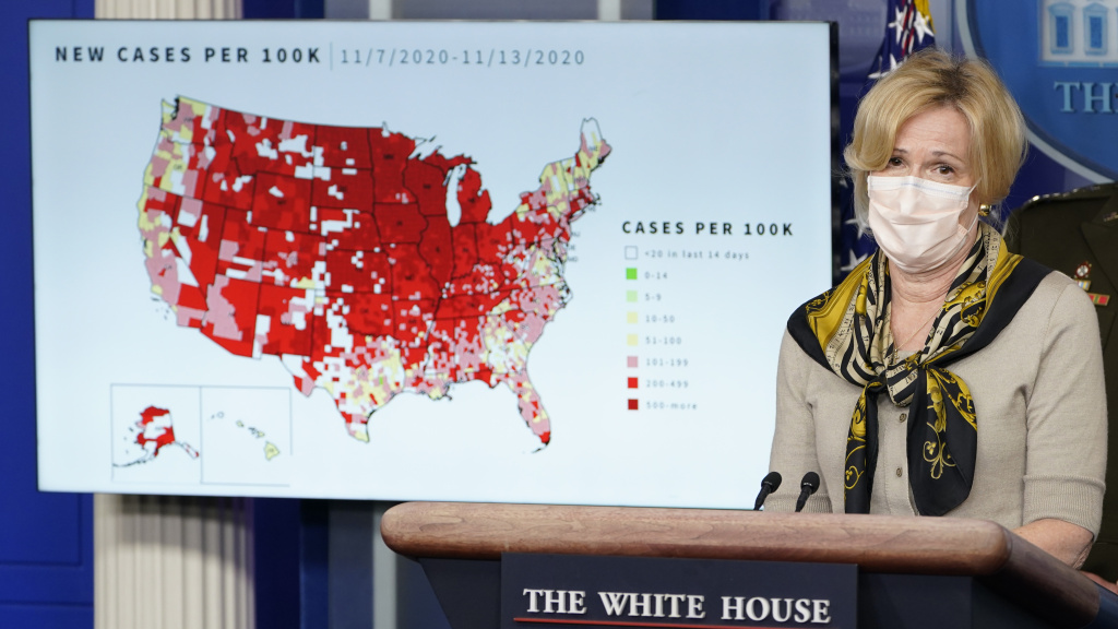 Dr. Deborah Birx, the White House's coronavirus response coordinator, speaks during a briefing with the coronavirus task force at the White House on Thursday. The FDA has granted emergency use authorization for a second antibody treatment.