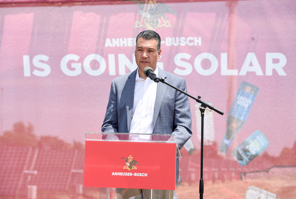 FAIRFIELD, CA - JUNE 05:  Alex Padilla, California Secretary of State, speaks at the signing of a contract between Anheuser-Busch and the sun, at the Fairfield Brewery in Fairfield, California on June 5, 2019. The contract states that as long as the sun is shining the company will be committed to 100% of their purchased electricity coming from renewable sources.  (Photo by Vivien Killilea/Getty Images for Anheuser-Busch)