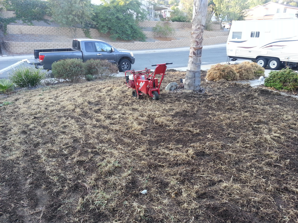 This homeowner ripped out lawn to replace it with rocks. At least half of residential water use still goes toward landscaping in California, even during a drought.