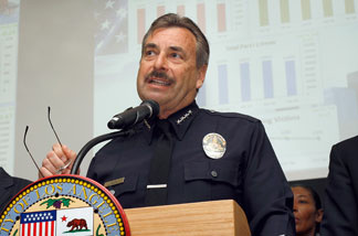 File photo: Los Angeles Police Chief Charlie Beck announces the 2009 crime statistics for Los Angeles on January 6, 2010 in Los Angeles, California.
