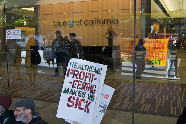 Health care reform protest at Blue Shield of California, October, 2009.