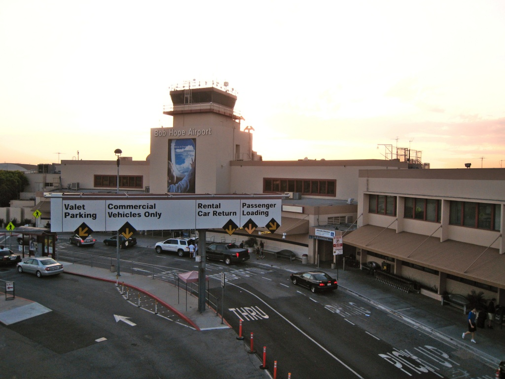 The sun setting behind the Hollywood Burbank Airport