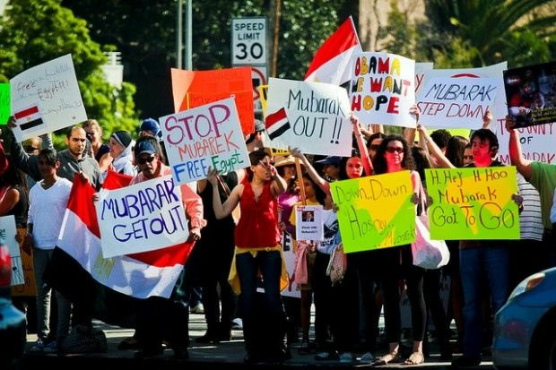 A Egyptian solidarity demonstration outside the federal building in West Los Angeles on Saturday, January 29, 2011