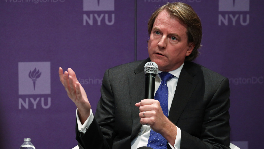 Former White House counsel Don McGahn, seen here at a 2019 event, is set to testify Friday behind closed doors more than two years after the House Judiciary Committee subpoenaed him.