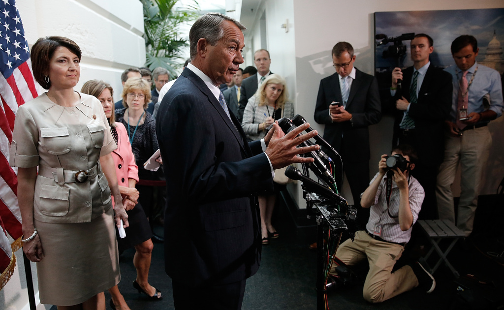 Speaker of the House John Boehner (R-OH) speaks following a meeting of the House Republican conference June 18, 2014 at the U.S. Capitol in Washington, DC. Rep. Kevin McCarthy (D-CA) is the favorite to be elected to the position of House Majority Leader tomorrow to replace Rep. Eric Cantor (R-VA) who was defeated in primary race last week.