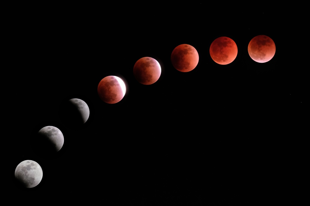 This composite image created on January 31, 2018 shows the moon during a lunar eclipse referred to as the